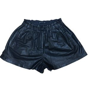 Zara Woman Faux Leather Pleated Shorts /Pockets!